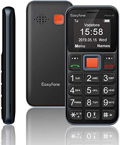 Easyfone Prime-A5 Teléfono Móvil para Personas Mayores con Teclas Grandes y botón SOS, Fácil de Usar Móviles para Ancianos con Base cargadora
