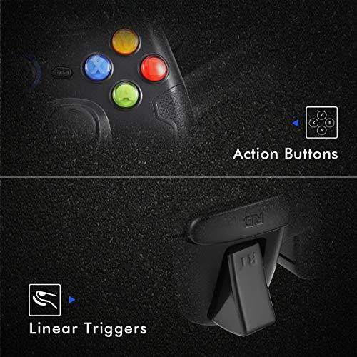 EasySMX Mandos PS3 Gamepad, Game Mando PC Joystick con los Botones de Doble-Vibración, Trigger Compatible con Windows/Android/PS3/TV Box (Negro)