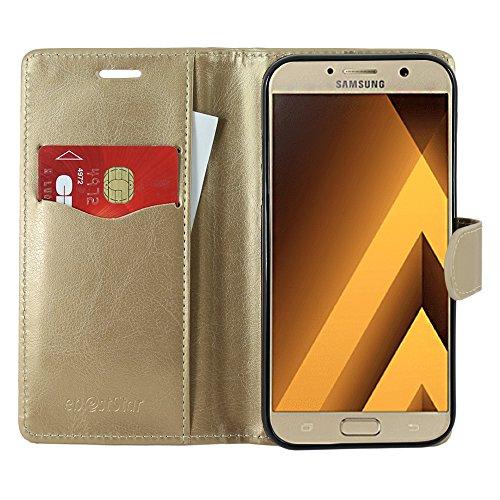 ebestStar - Funda Compatible con Samsung A5 2017 Galaxy SM-A520F Carcasa Cartera Cuero PU, Funda Libro Billetera Ranuras Tarjeta, Función Soporte, Dorado [Aparato: 145 x 71 x 7.8mm, 5.2'']