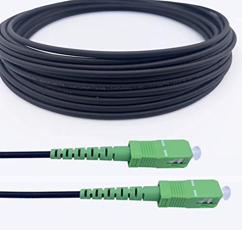 Elfcam Cables de Fibra Óptica Blindados SC/APC a SC/APC Monomodo Simple, Compatible con Orange, Movistar, Vodafone y Jazztel (7M)