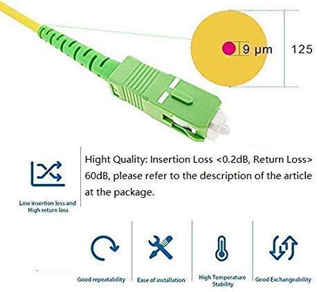 Elfcam Fibra óptica Cable SC/APC a SC/APC monomodo simplex 9/125, Compatible con Orange, Movistar, Vodafone y Jazztel, 7M