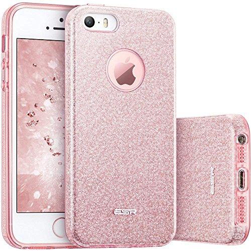 ESR Funda iPhone 5S/SE/5 Carcasa Dura Brillante Brillo Purpurina llamativa para Apple iPhone - Oro Rosa