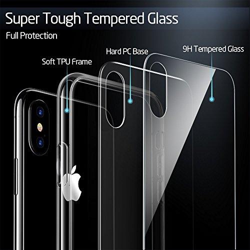 ESR Funda para iPhone X Cristal Templado [Imita la Parte Posterior del Vidrio del iPhone X] [Resistente a los Arañazos] + Borde de Silicona Suave [Amortiguación] para Apple iPhone X -Transparente