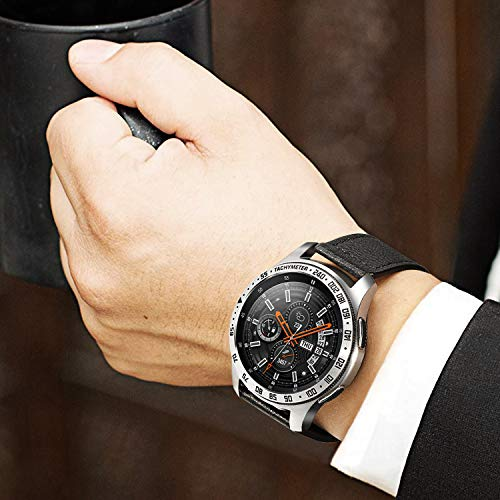 Fintie Anillo de Bisel Compatible con Samsung Galaxy Watch 46mm / Gear S3 Frontier & Gear S3 Classic, Carcasa Protectora contra Rayones de Aacero Inoxidable Bucle de Bisel, Plateado/Negro