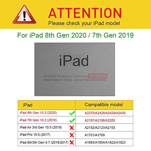 """Fintie Funda para iPad 10,2"""" 2020/2019 con Soporte Integrado para Pencil - Trasera Transparente Carcasa Ligera Función de Auto-Reposo/Activación para iPad 8/7.ª Generación, Gris Oscuro"""