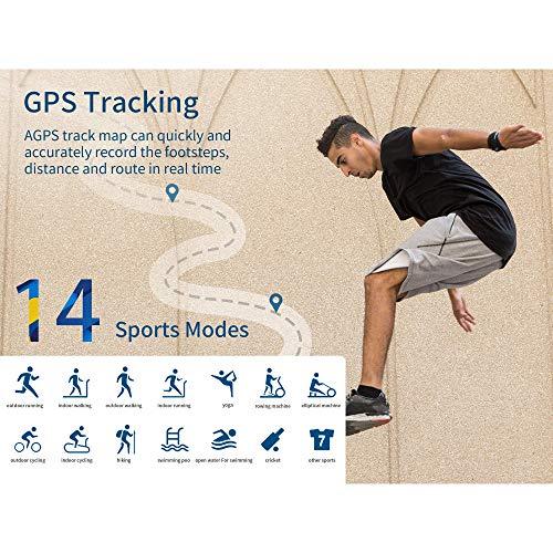 FKANT Reloj Inteligente Hombre Mujer, Smartwatch Fitness GPS con Competidor Simulador, 5ATM Reloj con 24H Monitor de Ritmo Cardíaco y Sueño, Smartwatch Despertador Cronómetro y Pronóstico del Tiempo