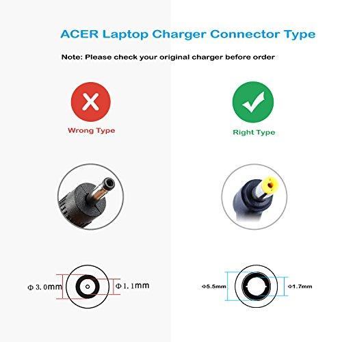 FSKE 65W 19V 3.42A Cargador para Portatil Acer Aspire 1 3 5 A515 5735Z 5732Z 5742 5749 7741G V3-571G E5-573 E1-571 ES1-571 E1 ES1 V3 E5 E15 Serie AC Adaptador, Notebook EUR Power Supply, 5.5 * 1.7mm