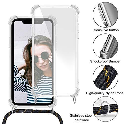 Funda Colgante con Cuerda para Colgar Samsung Galaxy S5 - Carcasa Transparente de TPU Suave Silicona - con Cordon para Llevar en el Cuello [ Anti-Choque] [Anti-rasguños], Oro Rosa