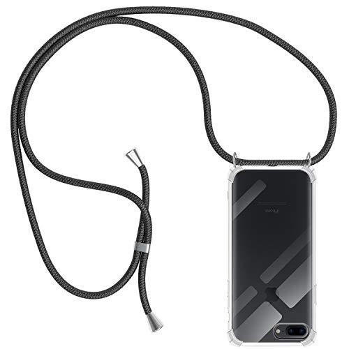 Funda con Cuerda para iPhone 7 Plus / 8 Plus, Carcasa Transparente TPU Suave Silicona Case con Correa Colgante Ajustable Collar Correa de Cuello Cadena Cordón para iPhone 7 Plus / 8 Plus - Negro