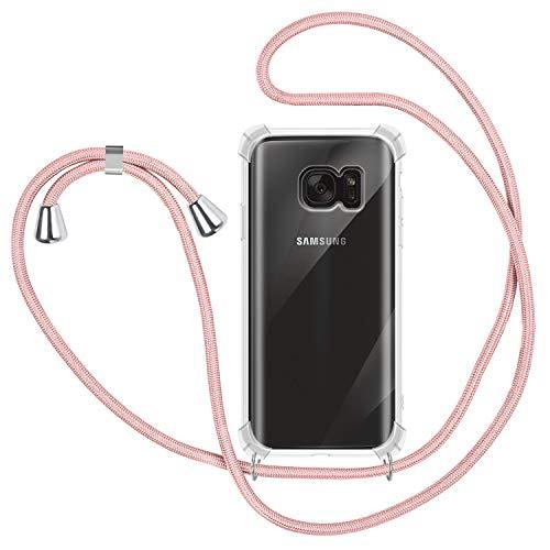 Funda con Cuerda para Samsung Galaxy S7, Carcasa Transparente TPU Suave Silicona Case con Correa Colgante Ajustable Collar Correa de Cuello Cadena Cordón para Samsung Galaxy S7 - Oro Rosa