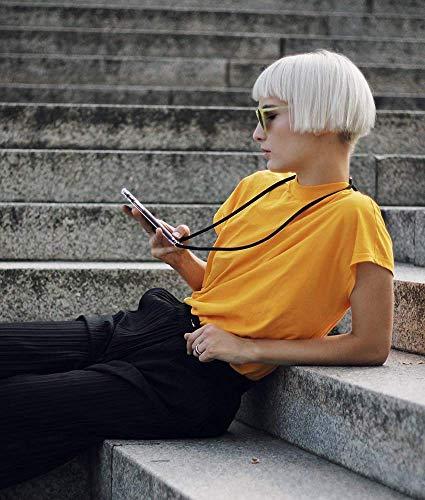 Funda con Cuerda para Xiaomi Mi A2 Silicona Transparente, Ultrafina Suave TPU Carcasa de movil con Colgante [Moda y Practico] [Anti-rasguños Anti-Choque] - Negro