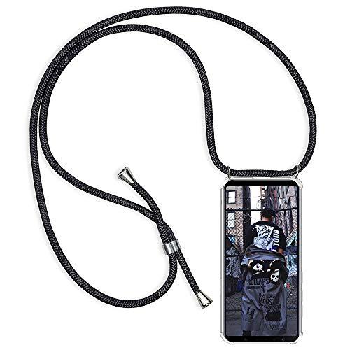 Funda con Cuerda para Xiaomi Redmi Note 5 Silicona Transparente, Ultrafina Suave TPU Carcasa de movil con Colgante [Moda y Practico] [Anti-rasguños Anti-Choque] - Negro