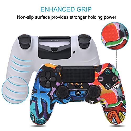 Funda para Cubrir el Mando de PS4 con 8 Grips para Pulgares, Funda Antideslizante de Silicona, Carcasa Protectora para Mando de PS4 / Slim/Pro