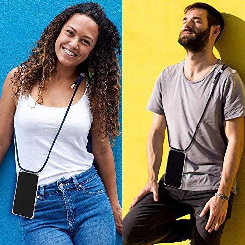Funda para Samsung Galaxy A5 2017 con Cuerda, Galaxy A5 2017 Carcasa Transparente TPU Suave Silicona Case con Correa Colgante Ajustable Collar Correa de Cuello Cadena Cordón Anti-Choque, Oro Rosa