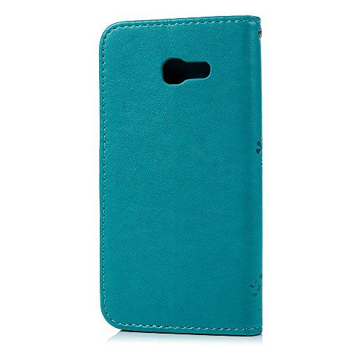 Funda para Samsung Galaxy A5 2017, Libro de Cuero Impresión de Suave PU Premium e Silicone TPU Carcasa, Correa de mano, Soporte Plegable, Ranuras para Tarjetas, Cierre Magnético - Árbol Azul
