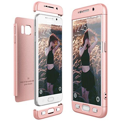 Funda Samsung Galaxy S6, CE-Link Carcasa Fundas para Samsung Galaxy S6, 3 en 1 Desmontable Ultra-Delgado Anti-Aranazos Case Protectora - Oro rosa