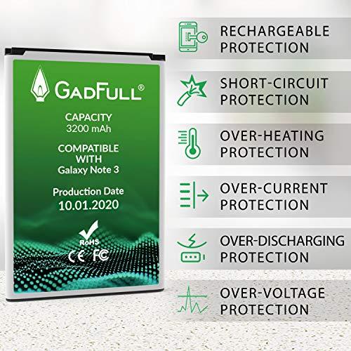 GadFull Batería de reemplazo para Samsung Galaxy Note 3 | 2020 Fecha de producción | Corresponde al Original EB-B800BE | Compatible con GT-N9000 | GT-N9005 | GT-N9006 | GT-N9009