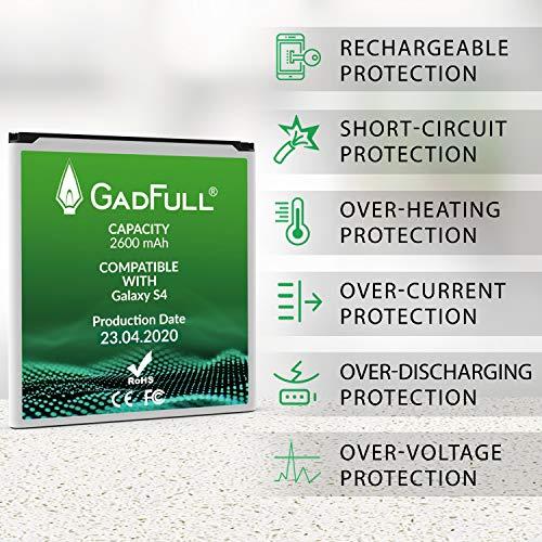 GadFull Batería de reemplazo para Samsung Galaxy S4 | 2020 Fecha de producción | Corresponde al Original EB-B600BE | Compatible con Galaxy S4 i9500 | LTE i9505 batería de Repuesto