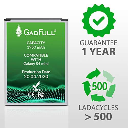 GadFull Batería de reemplazo para Samsung Galaxy S4 Mini | 2020 Fecha de producción | Corresponde al Original B500BE | Compatible con S4 Mini i9190| S4 Mini Dual SIM i9192| S4 Mini LTE i9195