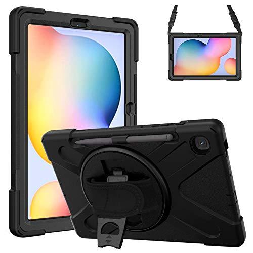 """Gerutek Funda Anticaída para Samsung Galaxy Tab S6 Lite 10.4"""" (SM-P610/SM-P615), Carcasa Rugosa con Soporte Rotación, Correa de Mano/Hombro, Funda Antichoque para Samsung Tab S6 Lite 10.4"""", Negro"""