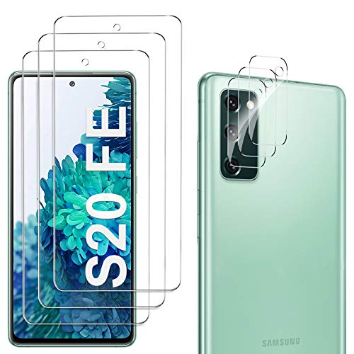 GESMA para Samsung Galaxy S20 FE Protector de Pantalla (3 Piezas) + para Samsung Galaxy S20 FE Protector de Lente de Cámara (3 Piezas), Cristal Templado de HD Anti-arañazos, 4G/5G