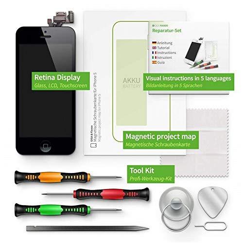GIGA Fixxoo Kit Completo de Reemplazo de Pantalla iPhone 5 LCD Negro; con Touchscreen, Cristal Retina Display, cámara y Sensor de proximidad - Fácil instalación y reparación guiada DIY