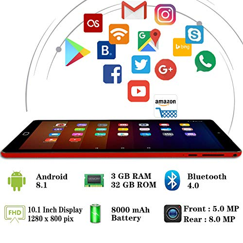 GOODTEL Tablet 10 Pulgadas Full HD Tablet PC , 3GB RAM Quad Core 32GB de ROM, Escalable 64GB Doble Tarjeta SIM Doble HD cámara 8000mAh Batería de Litio,Wi-Fi,Bluetooth,Ratón,Teclado - Rojo