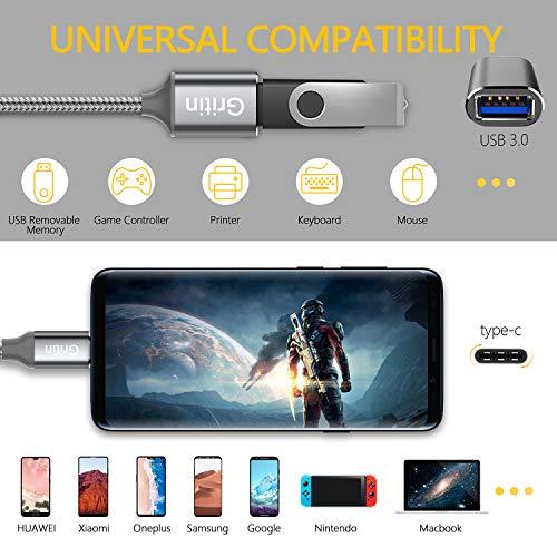 Gritin Adaptador USB C a USB 3.0, 2 Pack [0.15M +0.3M] Cable USB C OTG 5 Gbps para MacBook Pro, Xiaomi Note 7/Mi 9T/Mi A1, Galaxy S10/S9, Huawei P10/P9/Mate 10, OnePlus, y Más Dispositivos con USB C