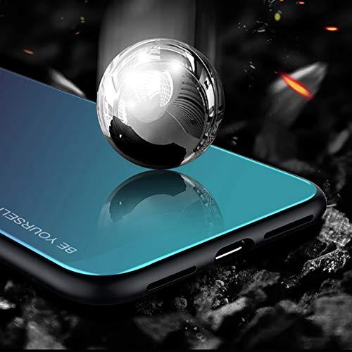 Hexcbay Estuche de Vidrio de la Serie Compatible con Samsung Galaxy S10 Estuche de Vidrio Templado para teléfono Celular Doble Estuche Protector Resistente (Samsung Galaxy S10, Negro-Azul)
