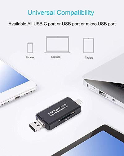 Hoonyer Lector de Tarjetas Memoria SD/Micro SD Lector Tarjetas SD USB Tipo C USB 2.0 con Enchufe USB estándar Micro USB para PC y Tableta teléfono Inteligente portátil con función OTG