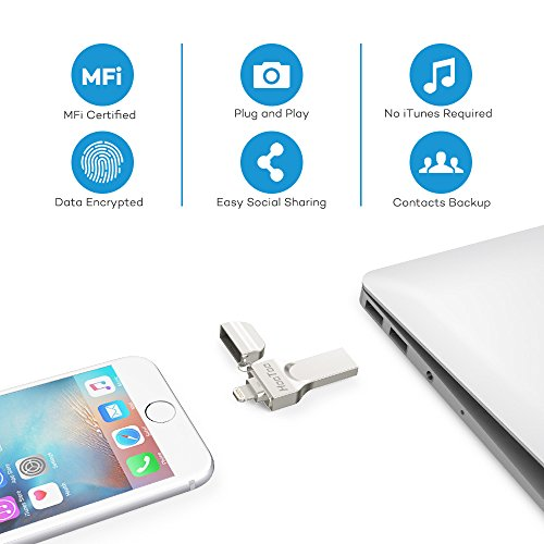 Hootoo Memoria Usb Para Iphone y Ipad 64Gb, [Certificado Mfi] Pendrive Otg Memoria Flash 2 en 1 Compatible con Iphone y Ipad, Iphone X/8/8Plus/7/7 Plus/6/6S/6S Plus/5S, Ipad, Mac, Portatiles Windows