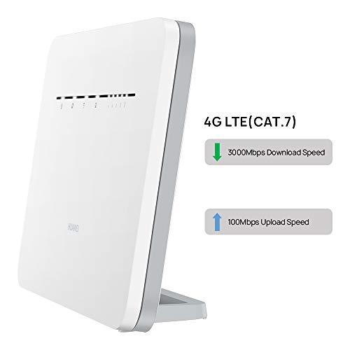 HUAWEI 4G Router 3 Pro B535 - Mobile WiFi 4G LTE (CAT.7) con punto de acceso WiFi, Soporte de selección automática WiFi de doble banda y beamforming, 4 puertos Gigabit, Instalación automática, Blanco