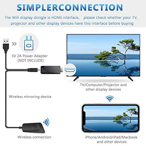 iBosi Cheng WiFi Display Dongle, 2.4G/5G HDMI Adaptador, Mini Aparato Pantalla Inalámbrico Receptor ,1080P HDMI TV Dongle Miracast para Android / iOS / Mac / Windows / Mac OS