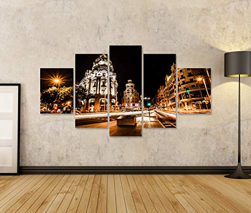islandburner Cuadro en Lienzo Tráfico Nocturno en Madrid España HDR Image Cuadros Modernos Decoracion Impresión Salon