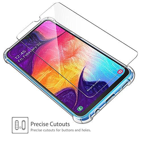 ivencase Samsung Galaxy A50 Funda+[2 Pack] Cristal Templado, Ultra Fina Silicona TransparenteTPU Carcasa Protector Airbag Anti-Choque Anti-arañazos Case Cover para Samsung Galaxy A50