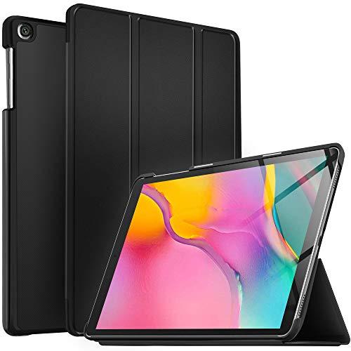 IVSO Funda Carcasa para Samsung Galaxy Tab A T510/T515 10.1 2019, Slim PU Protectora Carcasa Cover para Samsung Galaxy Tab A 10.1 T510/T515 2019, Negro
