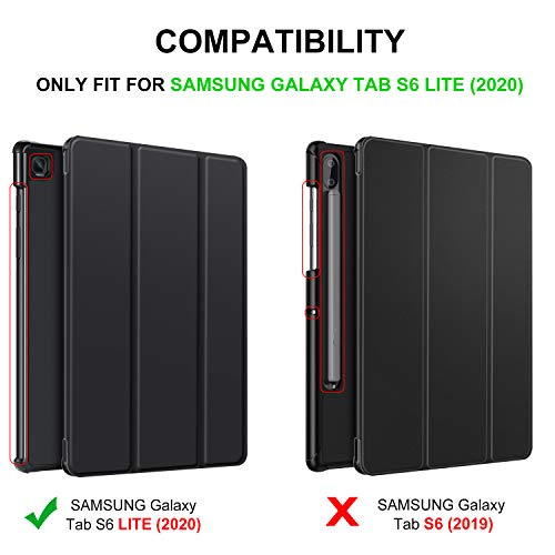 IVSO Protector de Pantalla con Funda para Samsung Galaxy Tab S6 Lite, Slim PU Protectora Carcasa Cover para Samsung Galaxy Tab S6 Lite 10.4 Pulgadas 2020, Negro + 1 Pack