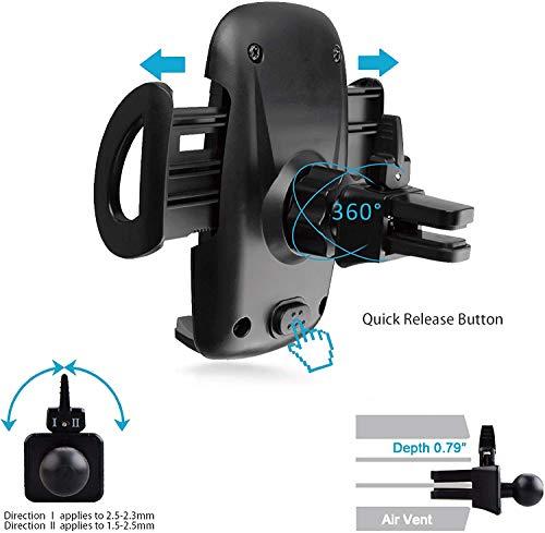 IZUKU Soporte Movil Coche Ventilación con [2 Clips de ventilación] Universal 360 Grados Rotación Porta Movil Coche para Rejillas del Aire de Coche