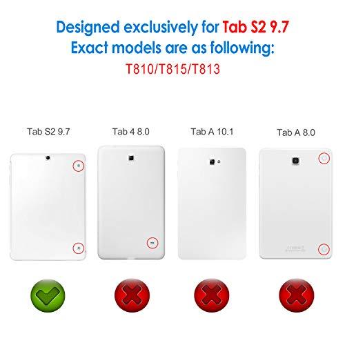 Jetech 3320- Funda para Samsung Galaxy Tab S2 9,7, Carcasa con Soporte Función, Auto-Sueño/Estela, Negro