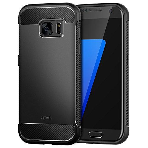 JETech Funda para Samsung Galaxy S7, Carcasa con Fibra de Carbono, Anti-Choques, Negro