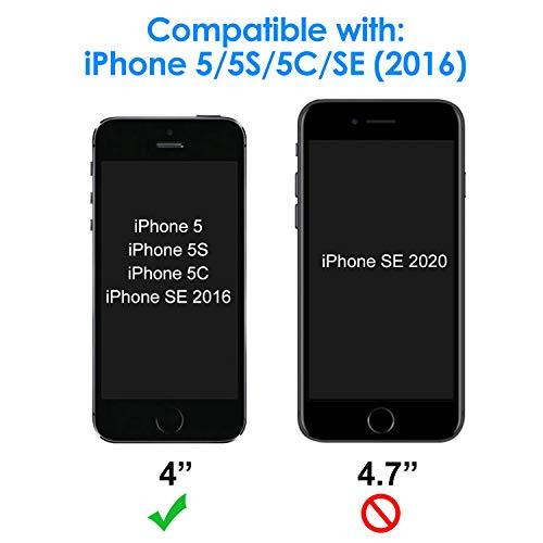 JETech Protector de Pantalla Compatible iPhone SE (Edición 2016), iPhone 5s, iPhone 5 y iPhone 5c, Vidrio Templado, 2 Unidades