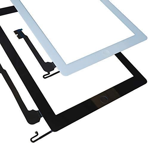 Kakusiga para iPad 4 Pantalla táctil digitalizador Panel Frontal de Cristal de reparación Incluye IC Chip Cable Flex Soporte cámara+ Adhesivos pre instalados + Kit Herramientas(Negro)