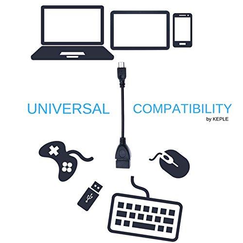 Keple | Micro USB OTG Cable (tipo A a tipo B) Adaptador Compatible con Samsung Galaxy S6, S7, S7 Edge, Nota 3, 4, Tab A 10,1 / HTC One M8, M9 / LG G6 / Sony Xperia Z3, Z5, XZ Premium | OTG Cargador