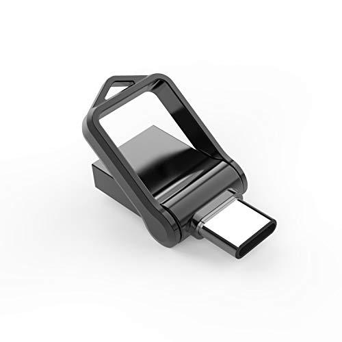 KEXIN Memoria USB 64GB Tipo C y OTG Pendrive USB 3.0 Impermeable Memoria Flash Drive 2 en 1 para Movíl/PC/Notebook/Smart TV(Nergro)