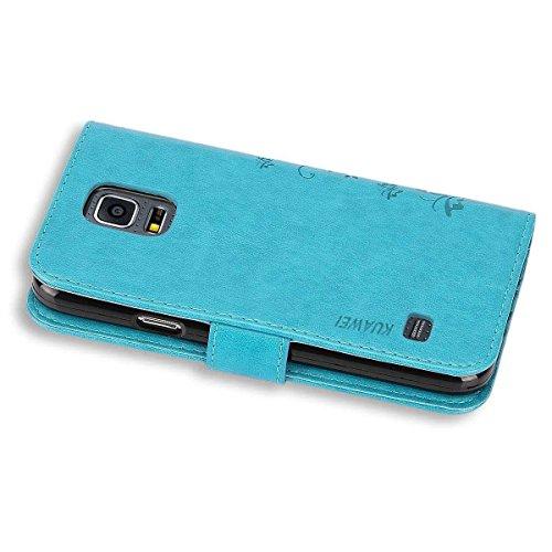KUAWEI Funda Samsung Galaxy S5 Cover Samsung S5/S5 Neo Funda con Tapa Carcasa Cartera Flip Cover con Soporte Plegable y Stand Función Ranuras para Tarjetas,Billetera,Cierre Magnético (Azul)