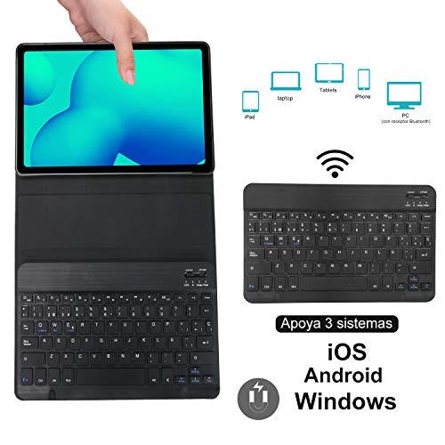 KVAGO Funda con Teclado para Samsung Galaxy Tab S6 Lite 10.4 Pulgadas 2020 SM-P610/ P615 Tablets,Diseño en Español Ñ con Teclado Bluetooth Inalámbrico,Carcasa con Auto-Sueño/Estela,Negro