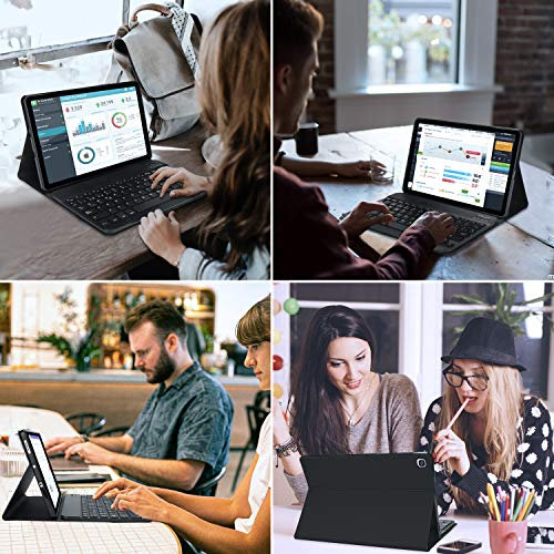 KVAGO Funda con Teclado para Samsung Galaxy Tab S6 Lite 2020 10.4 Pulgadas,(Diseño Español Ñ) Teclado con Bluetooth Inalámbrico 7 Color Retroiluminación para Samsung Galaxy Tab S6 Lite P610/P615,Negro