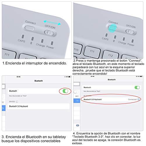 KVAGO Teclado con Funda para Samsung Galaxy Tab A 10.1 2019, Diseño en Español Teclado con Delgado Bluetooth Inalámbrico Extraíble Teclado Funda para Samsung Tab A 10.1 T510/T515/T517, Negro
