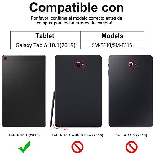 KVAGO Teclado con Funda para Samsung Galaxy Tab A 10.1 2019 (SM-T510 SM-T515), Teclado Español Bluetooth con Cover Inteligente Auto Wake/Sleep para Galaxy 10.1 2019,Negro