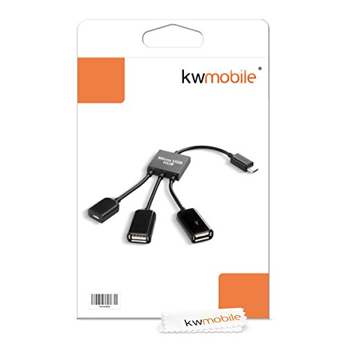 kwmobile Adaptador 3en1 para Smartphone/Tablet - Splitter Micro USB OTG para Tablet y móvil - Distribuidor Negro